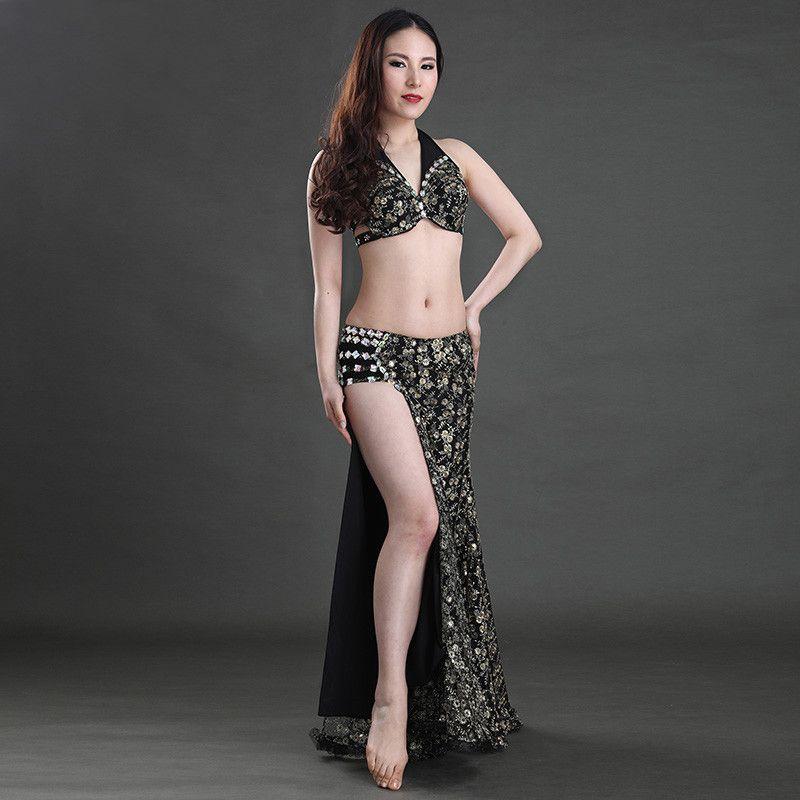 섹시한 배꼽 춤 복장 고정되는 여자 인도 동양 Bellydance Sequin 브래지어 치마 한 벌 성과 단계 춤 착용 포장 쪼개지는 복장