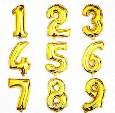 32 veya 16 inç mutlu yıllar ayıklısı kutlama balon dekorasyon alüminyum kaplama balon numarası 0 ila 9 balon gümüş ve altın renk