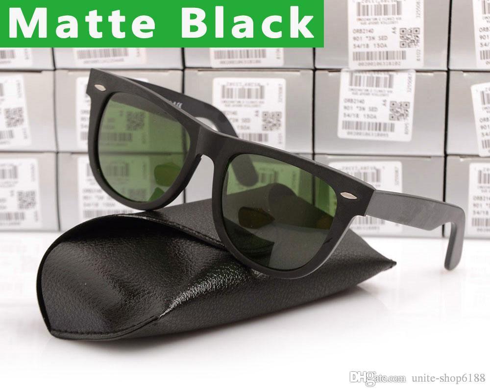 new 2140 Matte Black sunglasses mens sun glasses glass Lens Plank sunglasses High Quality womens glasses 100% UV protection eyeglass 50/54