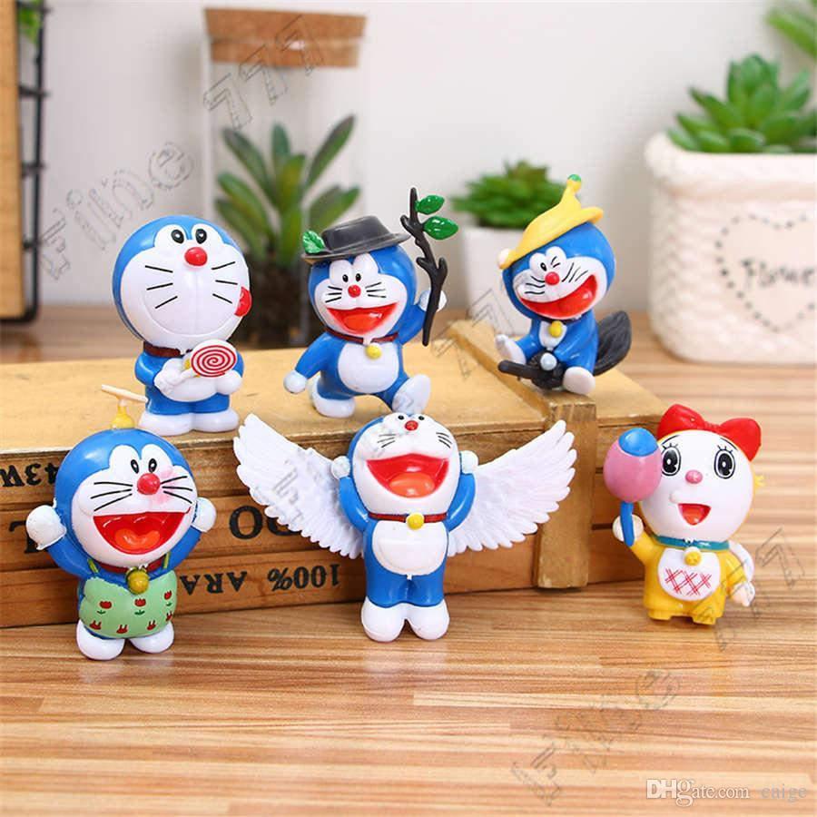 6 개 세트 / 세트 새로운 도착 애니메이션 도라에몽 조치 귀여운 도라에몽 PVC 인형 수집 어린이 선물 피규어