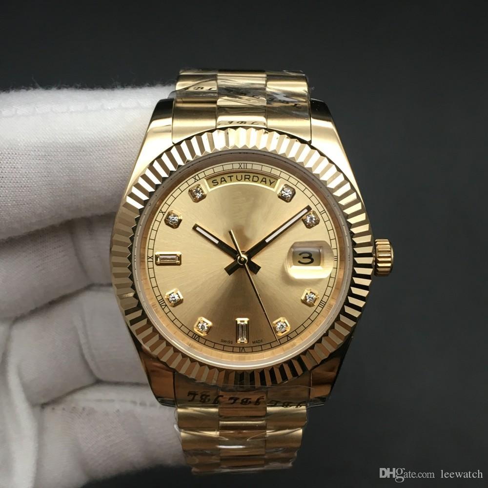 Мужские часы DayDate Full Gold Дата Часы 118238A 118238 автоподзаводом Механические Sapphire Оригинал Застежка Наручные часы 41мм