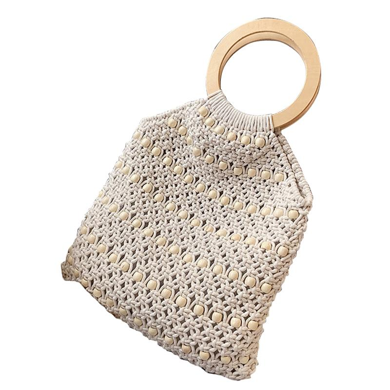 De mujeres ahuecado neto bolsa hecha a mano ocasional de moda del hombro bolso tejido de algodón tejido de paja Beach mitones