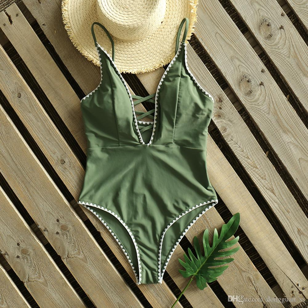 Badeanzug 2020 neue festen Criss Cross-Badeanzug-Frauen Vintage Retro Swimwear Badeanzug Bademode Backless Monokini