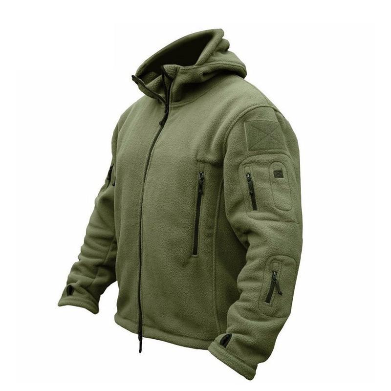 ZOGAA Uomini Bomber cappotto in pile tattico cappotto maschile all'aperto con cappuccio Zipper Solid termica Outwear Giacche Cappotti