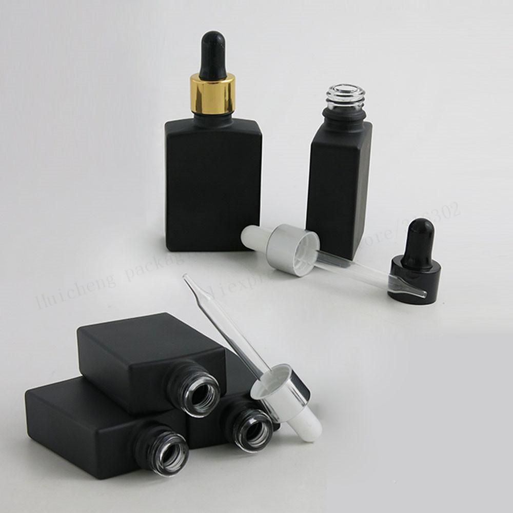 알루미늄 드롭퍼 1온스 유리 용기와 프로스트 검은 사각형 유리 병 비우기 30ML 12 X
