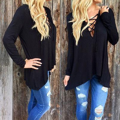 New Moda feminina Ladies Long Sleeve Casual solta shirt Tops T-shirt