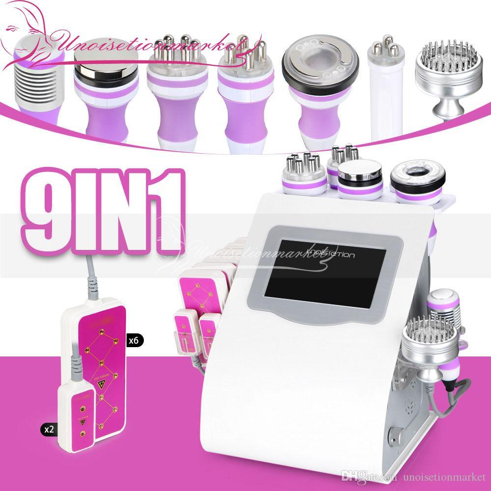 Multi-fonctions 9 IN 1 Unoisetion cavitation 40k Cellilute Minceur froid Photon Micro actuel Laser 5mW beauté Machine