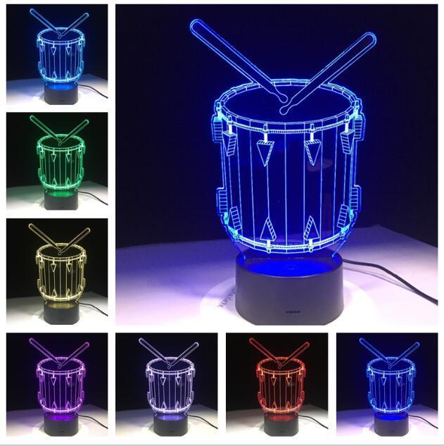 3D Drum Set Lamp LED Changing Gradient