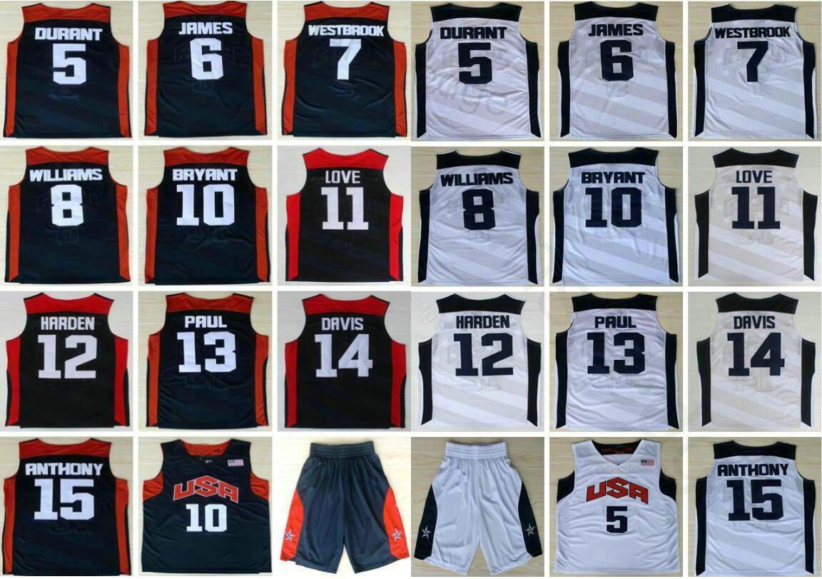 2012 Equipo de EE.UU. Kevin Durant 5 6 LeBron James Harden 10 Bryant, Chris Paul Williams Westbrook Davis cosido blanco azul de camisetas de baloncesto
