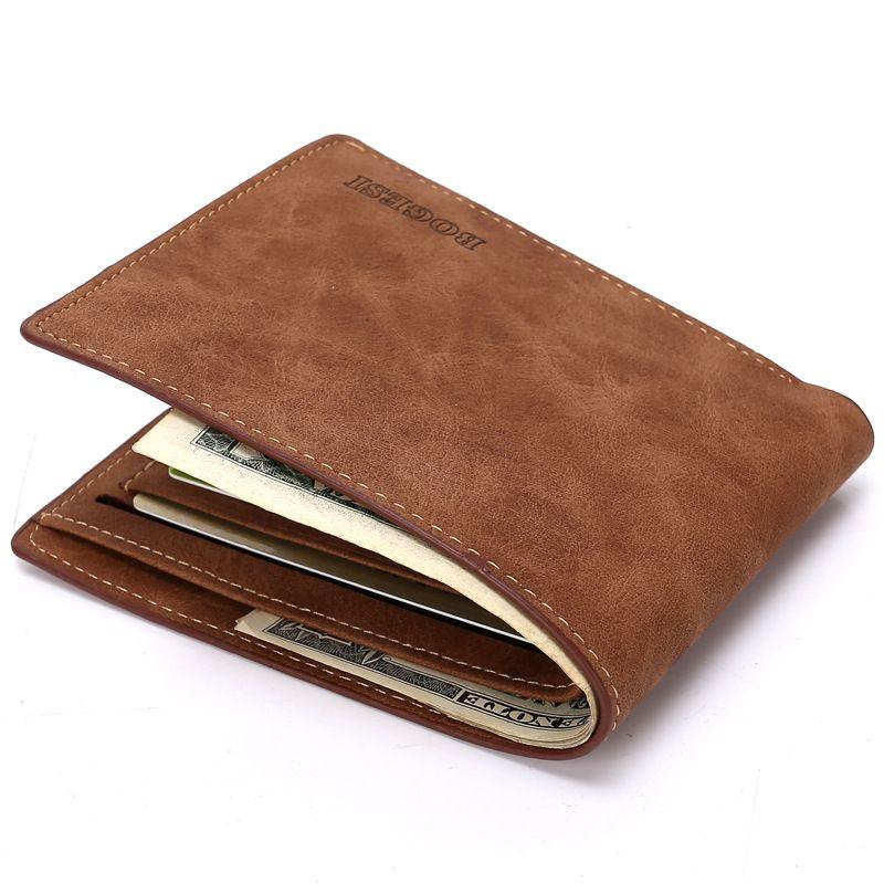 Мужчины кожаные кошельки портмоне двойные ID кредитные карты держатель короткий бумажник карман изменение кошельки мужской мягкий бумажник бизнес случайные кошельки