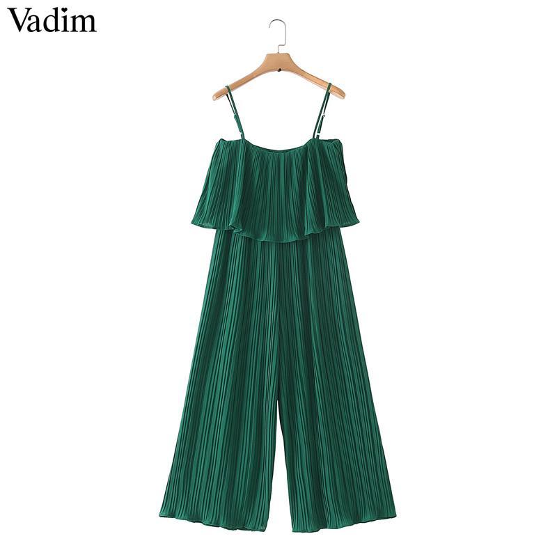 Vadim Women Chiffon Green Pleated Jumpsuits Elastic Waist Ruffles Sleeveless Backless Rompers Female Solid Chic Playsuits Ka615 Y19071701