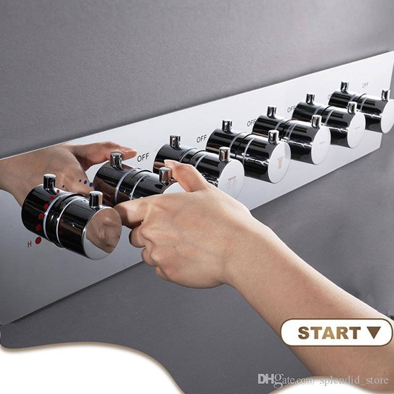 현대 뜨거운 판매 온도 조절 장치 6 + 1 큰 흐름 샤워 믹서 욕실 액세서리 황동 전환기 샤워기 제어