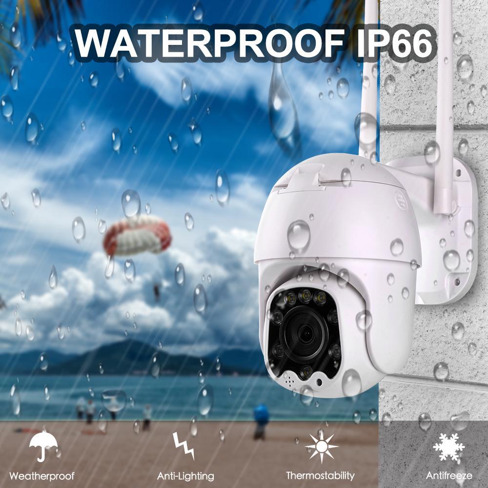 4 배 줌 무선 PTZ 스피드 돔 1080p의 IP 카메라 와이파이 야외 5MP 양방향 오디오 CCTV 보안 영상 감시 카메라의 P2P