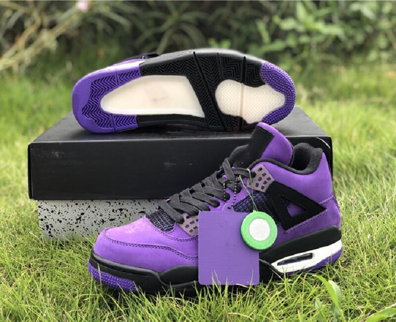 El envío 4 zapatos de baloncesto diseñador Jack Houston Oilers hombre con el rectángulo de Puple Blanco Negro IV Colaboración Moda Deportes zapatillas de deporte