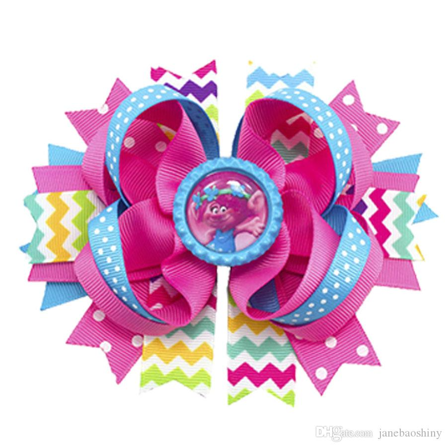 "4.5"" Handmade Poppy Trolls Boutique Hair Bow Rainbow"