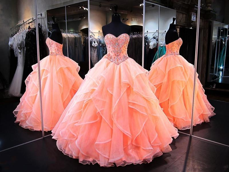 Orange Quinceanera Dresses Sweetheart Masquerade Ball Gowns Crystals Beaded Corset Organza Ruffles Floor Length Long Sweet 16 Prom Gowns