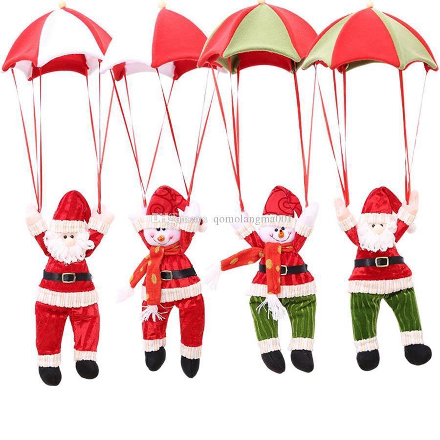 Dekor Paraşüt Kardan Adam Oyuncak Noel Baba Bebek Doldurulmuş kolye Süsleri Noel Parti Hediyeler Asma Yılbaşı Ağacı