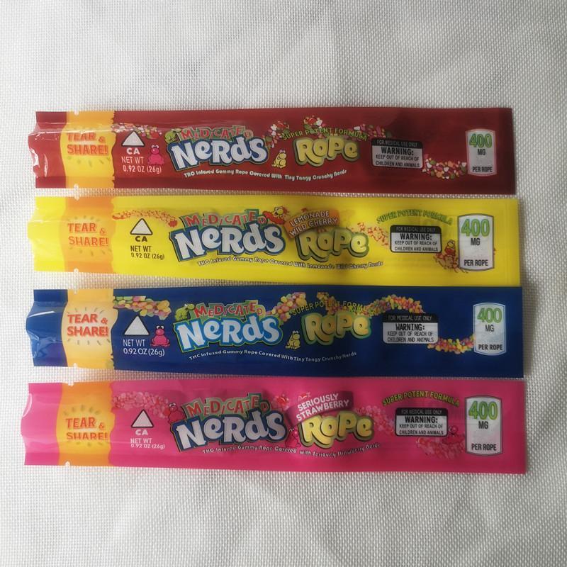 Top nerds de qualité sac de bonbons exotiques CORDE sac bord d'étanchéité Trois exotiques mini déodorant polyester feuille emballage alimentaire emballage voiture