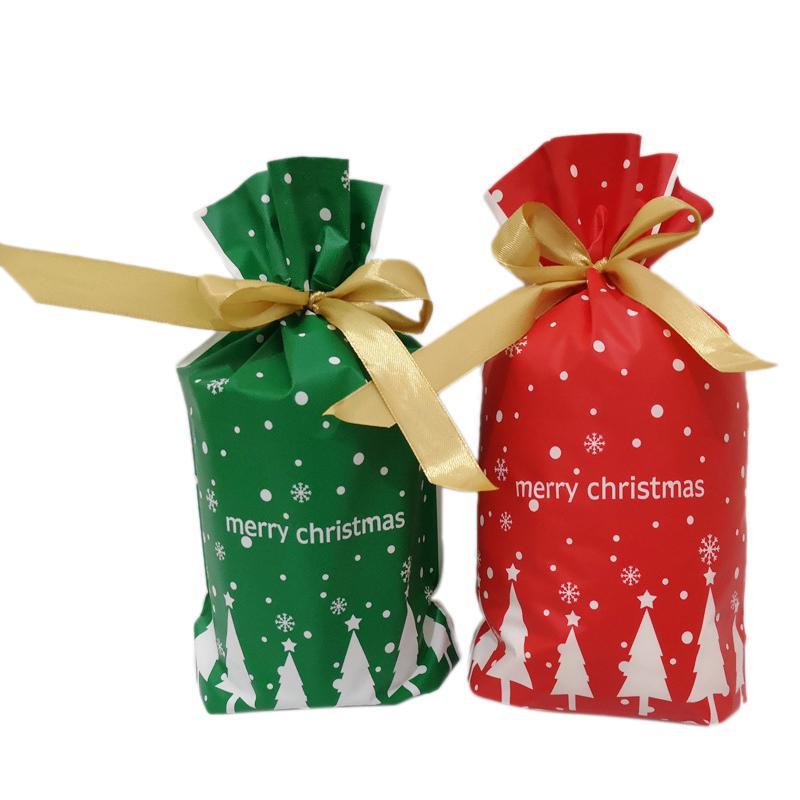 100 nouvelles pièces Joyeux Noël Sacs cadeaux Père Noël Arbre de Noël d'emballage Sacs Sac Cookie Sucrerie Sacs Parti Ornements