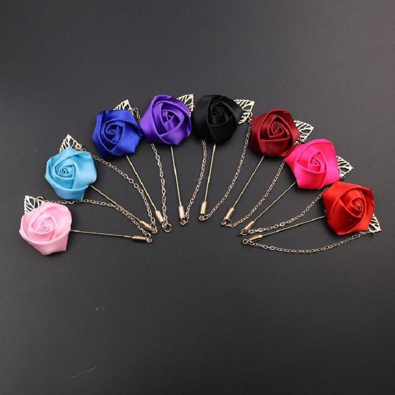 Broche fleur avec chaîne pour meilleur homme marié marié garçon d'honneur soie soie rose costume de mariage accessoires en métal broche décoration