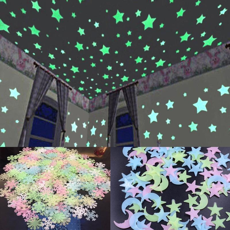 100pcs/set 3D Star and Moon Energy Storage Fluorescent Glow In the dark Luminous on Wall Stickers for Kids Room living room Decal