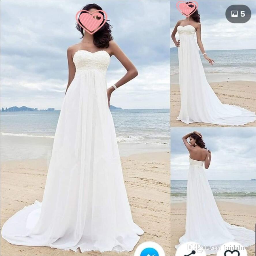 Богемный шифон империи талии пляжные свадебные платья милая аппликация кружева греческое свадебное платье Дешевые линии свадебных платьев Vestidos de Novia