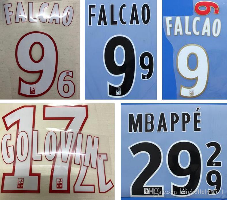 Monaco weiß heißer Druck Fußball Namesets FALCAO GOLOVIN MBAPPE Fußballspieler Stempeln Schriftzug gedruckt Kunststoff Fußball Aufkleber Abzeichen