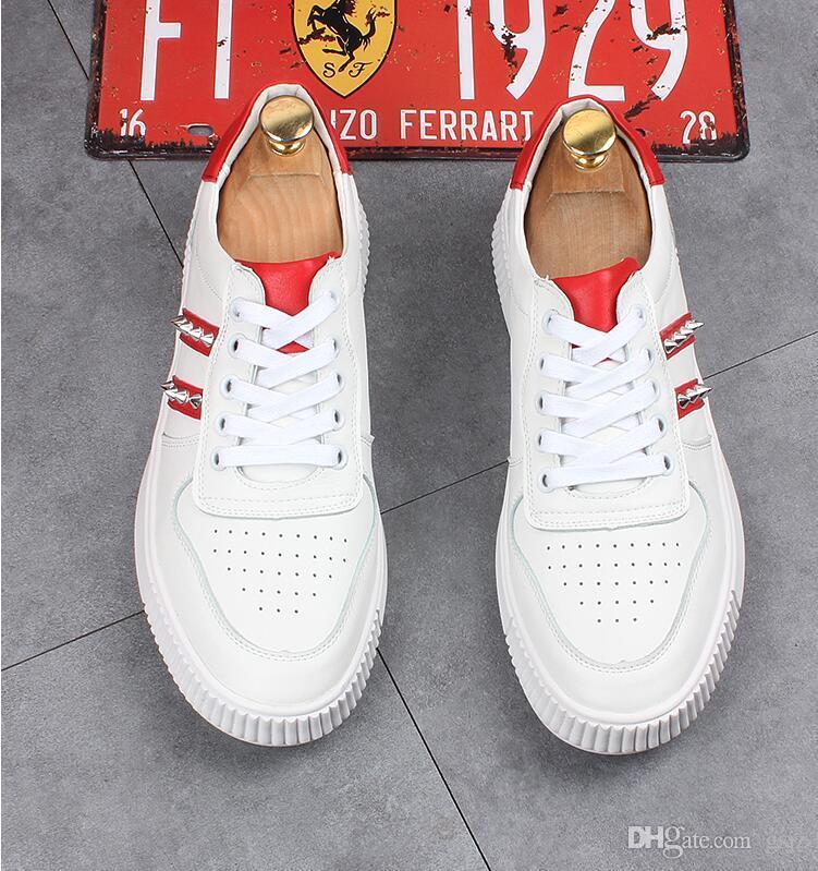 Nuevo estilo otoño cuero genuino zapatos de los hombres decoración del remache estilo de lujo del partido de boda zapatos moda hombres mocasines de cuero zapatillas de deporte Z177