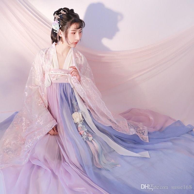 Nouvelle Arrivée Hanfu Costume National Ancien Chinois Traditionnel Cosplay Chinois Danse Folk Vêtements Vêtements Dame Dynastie Tang Stage Porter
