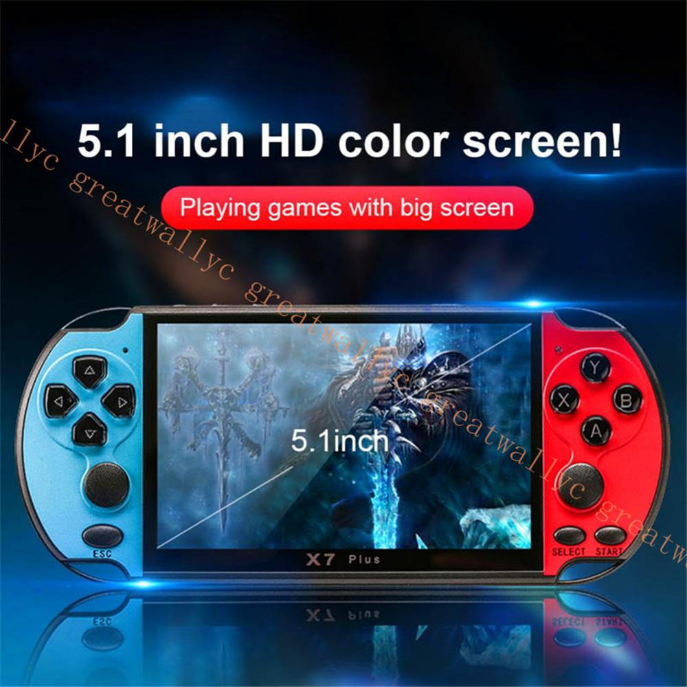 X7 Plus Game Console Portable Camera MP5 HD Movies Double Rocker 8G Video Kids Music LCD Rechargeable Handheld FC GBA MD CPS Game
