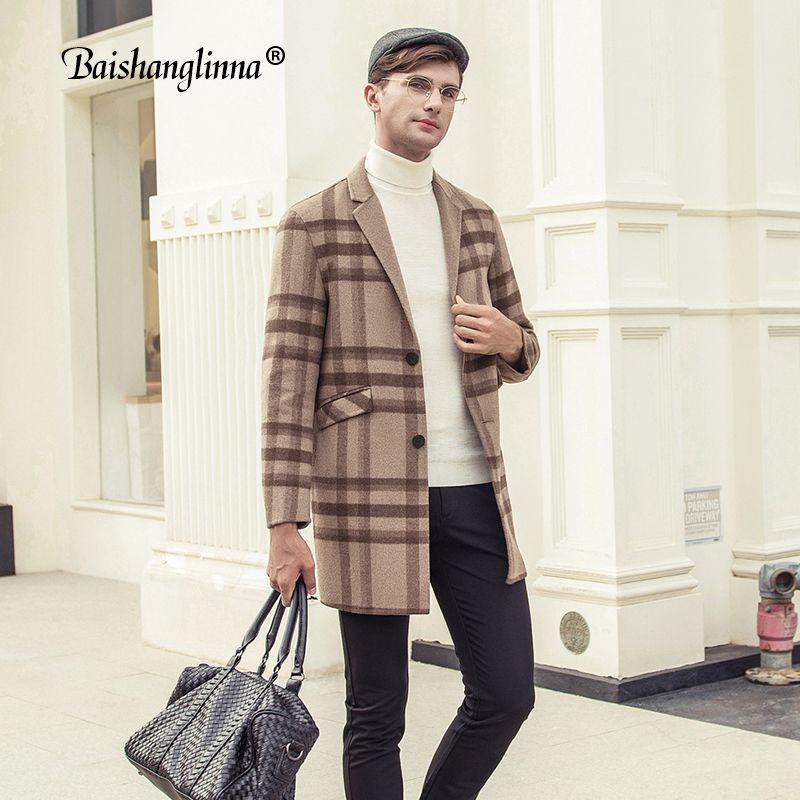 Baishanglinna hommes Manteaux en laine et cachemire Angleterre style hommes Pardessus 2019 Woollen Manteaux d'hiver mi long Plaid couleur Trench 38320
