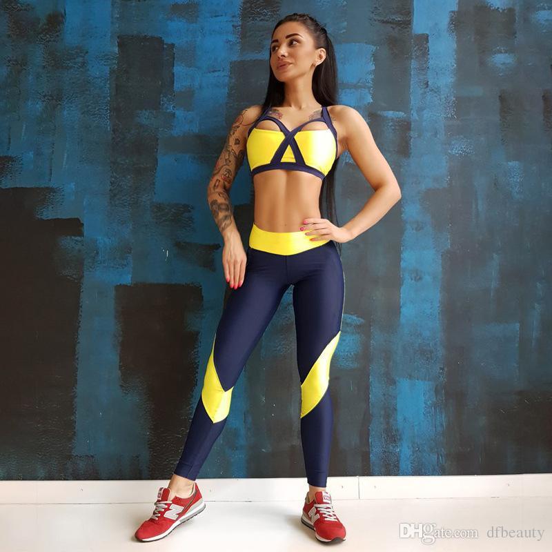 Aptidão das mulheres amarelas yoga set back cross treino das mulheres calças justas esportes alça de ombro peito pad colete calças terno ginásio roupas