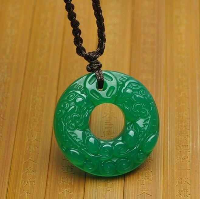 Natural Genuine Green Chalcedony Double Pendant Agate Peace Buckle Pendant Jade Jade