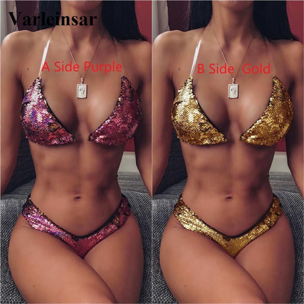 NUEVO color cambió de lentejuelas de bikini de baño mujeres traje de baño femenino-Dos piezas bikini conjunto brasileño bañista traje de baño de la nadada V1780 T200509