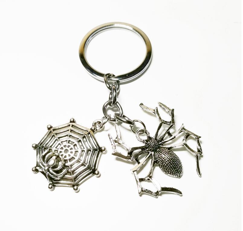 2020 الأزياء والمجوهرات البسيطة سلسلة المفاتيح، العنكبوت سلسلة المفاتيح، شبكة العنكبوت، سلسلة المفاتيح الفضة فستان أنيق S اليدويه اليدوية هدية A322