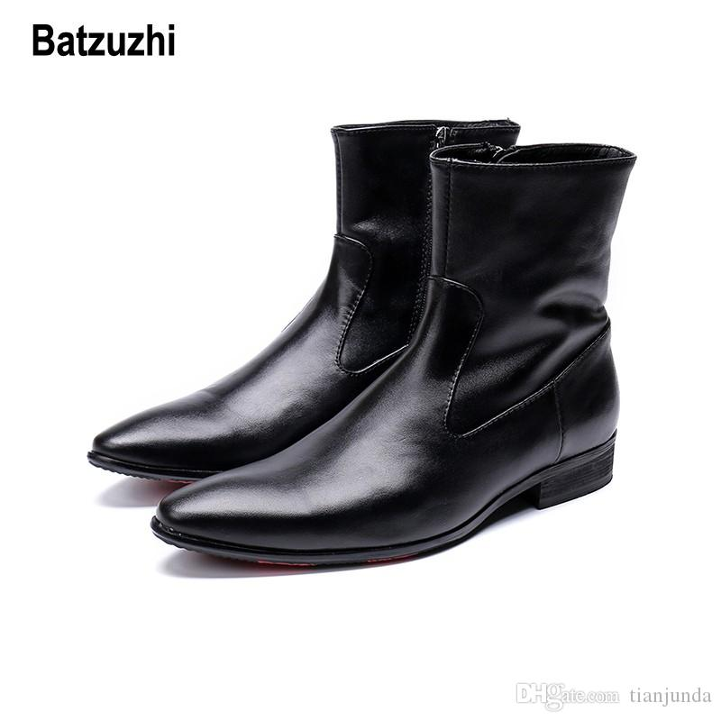 Batzuzhi Autunno Inverno Stivali Uomo Corto Nero Morbido Stivali eleganti in pelle Uomo zapatos de hombre Cowboy Safty Cavaliere botas hombre, 12