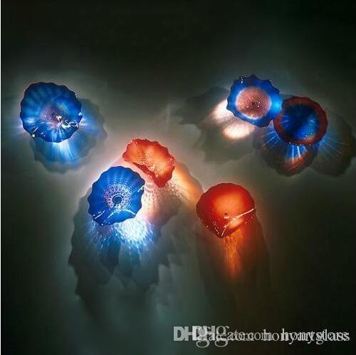 Wall Lamp Art Decor Plates Custom Colored Handmade Blown Glass Lamps for Living Room Deco