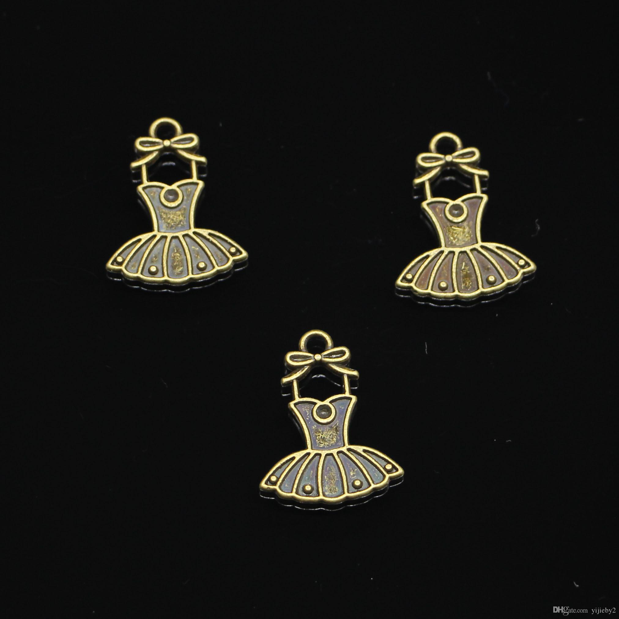 182pcs очаровывает балетная пачка платье балерины юбки Античная бронзовая покрытием Подвески Fit Изготовление ювелирных изделий вспомогательного оборудования заключений 20 * 16мм