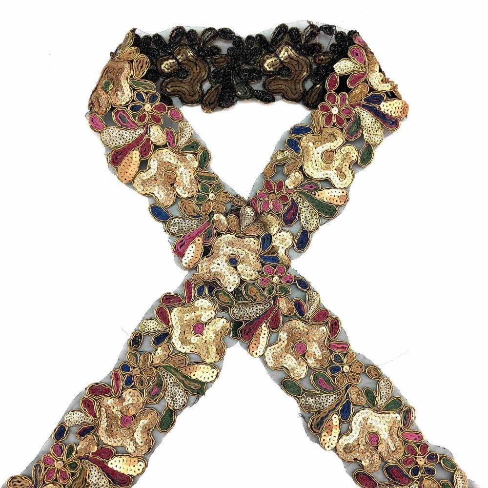 10 yards paillettes perles dentelle garniture bande ruban de dentelle africaine dentelle tissu collier robe couture vêtement coiffe matériaux