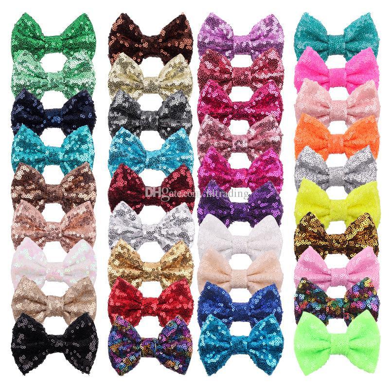 38 cores 4 polegadas Lantejoulas laço DIY Headbands Acessórios Baby Boutique cabelo arcos sem clipe de jacaré para meninas M791