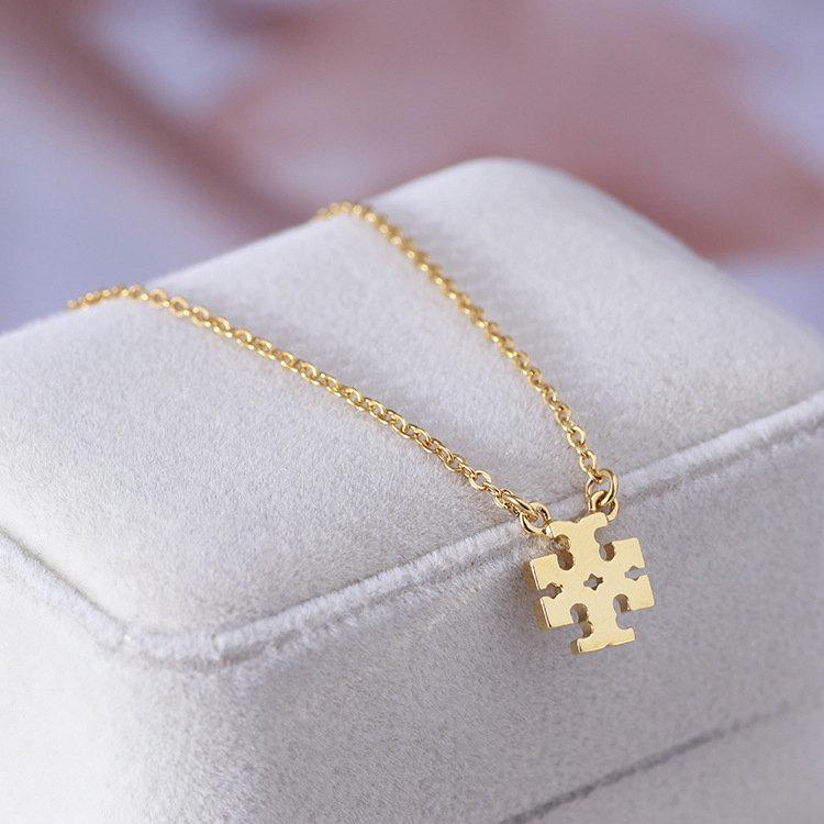 Free shipping Real Gold /Silver/Rose Gold Plated T Logo Pendant B Pendant Necklace Brand