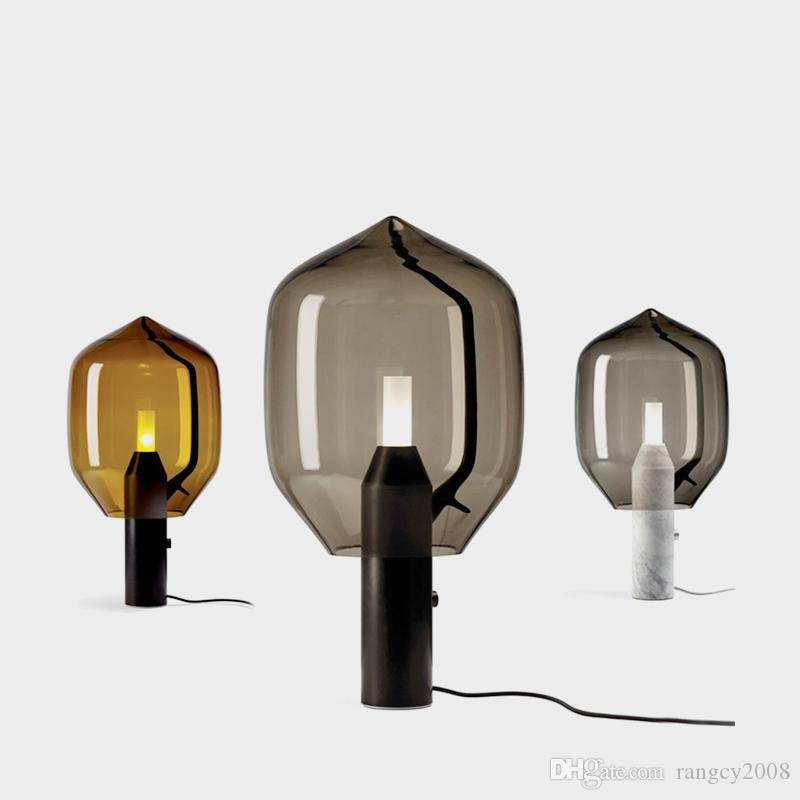 Postmodern creative marble living room table lamp art bedside bedroom glass study Smoke grey glass desk lamp free shipping