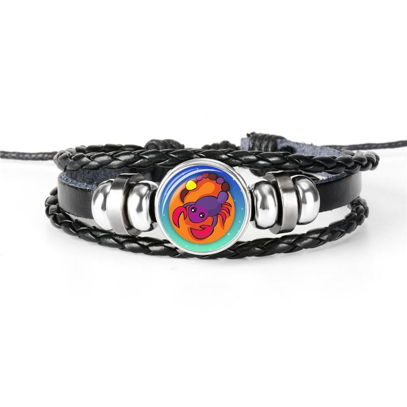12 Constellations Zodiac Scorpio Time Gem Glass Cabochon Charm Jewelry For Women Men Leather Rope Beaded Bracelets & Bangles Party Wholesale