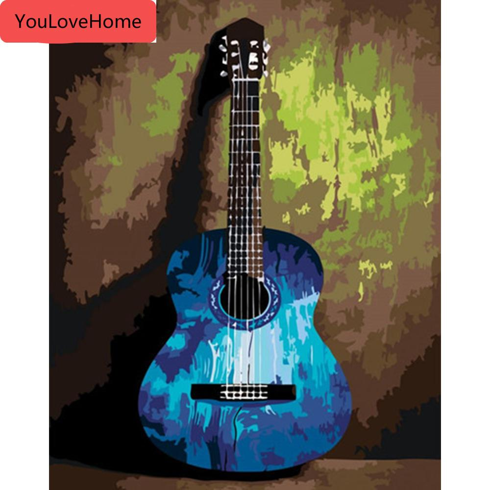 Painting By Numbers Guitar Pictures Gift Kits Drawing Canvas Handpainted Music Home Decor