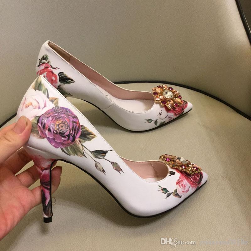 Blumen sticken Frauen Absatz-Schuhe 2019 Sommer-Schuhe der Frauen reizvolle Absatz-Partei-Pumpen-Frauen-hohles Netzkleid Pumps
