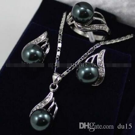 trasporto di nozze delle donne realiClassic Black South Sea Shell Pearl Orecchini + Anello + Collana Pendente Set gioielli in argento