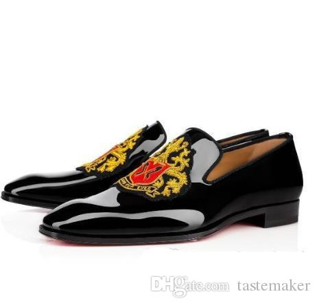 New Men Wedding Shoes Luxury Designers Red Bottom Loafers Business Dress Shoes,Black Patent leather loubiflat forever 35-46