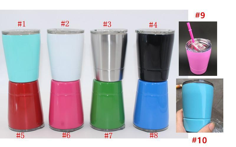20pcs 10colors in stock 9oz tumbler wine glasses Stainless Steel cups Travel Vehicle Beer Mug non-Vacuum Insulated mugs
