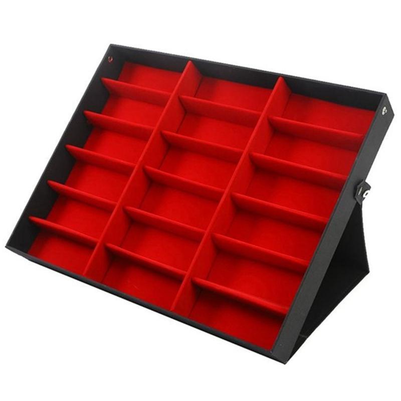 18 griglia Occhiali da sole Storage Box Organizzatore Occhiali supporto del basamento di caso di esposizione Eyewear Occhiali da sole di sicurezza Caso Red + rosso + nero