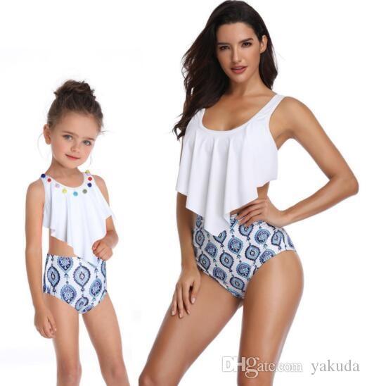 femmes bon marché de la mode enfants bikini sexy maillot de bain imprimé 2019 de Split bikini taille haute des femmes avec des volants pour les parents des enfants Baignade